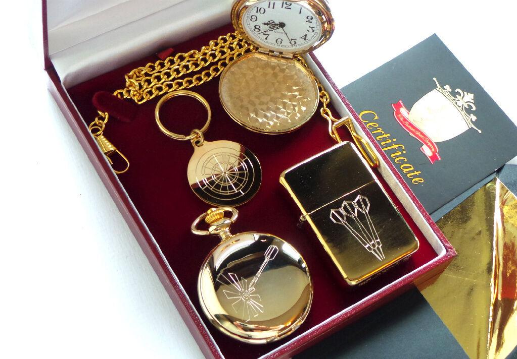 Reloj De Bolsillo auténtica  24k oro Revestido DartTablero KEYRING Dardos vuelos Encendedor Estuche De  el mas de moda