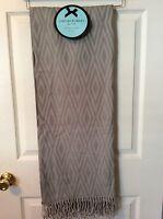 Cynthia Rowley Throw Blanket Fringe Gray Geometric Design