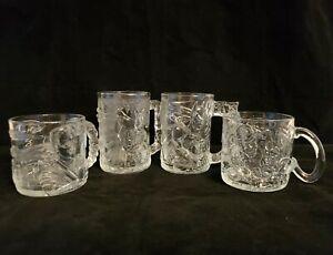 McDonalds Batman Forever 1995 Glass Mugs Cups COMPLETE SET OF 4 Batman Robin