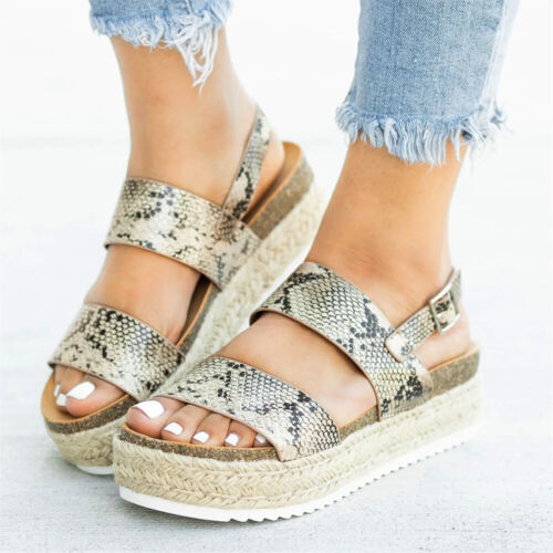 Women Lady Flatform Cork Espadrille Sandals Wedge Ankle Summer Casual Shoes Size