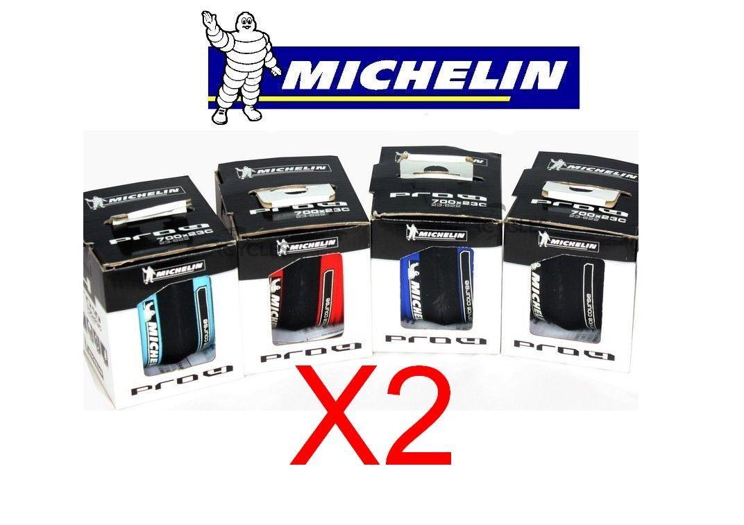 Set 2 Michelin Professionista 4 Service Gara Coppia 700 x 23 Nero Rosso Blu Road