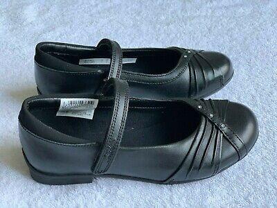 BNIB Clarks Ting Fever Jnr Black Leather School Shoe E//F//G//H Fitting