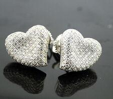 Womens Stud Earrings Sterling Silver Heart Earrings Screw Back