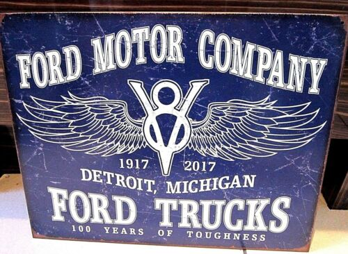 ANTIQUE-FINISH METAL SIGN 41x31 cm FORD MOTOR CO DETROIT// FORD TRUCKS 100 YRS