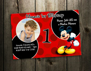 Details About Mickey Mouse Birthday Invitation Party Card Custom Photo Invite B5 9 Designs