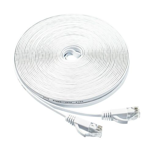 Flat Ethernet cable 50Ft Cat6 Slim RJ45 Network Cable with Cabl.. Free Shipping