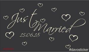 Just-Married-Aufkleber-Hochzeit-Trauung-Verheiratet-Sticker-Heckscheibe