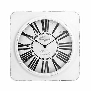 White-Antique-Square-Wall-Clock-with-Distressed-Frame-Vintage-Look