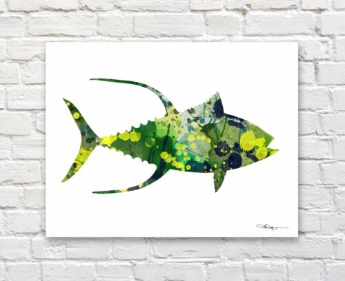 Yellowfin Tuna Abstract Watercolor Painting Art Print by Artist DJ Rogers