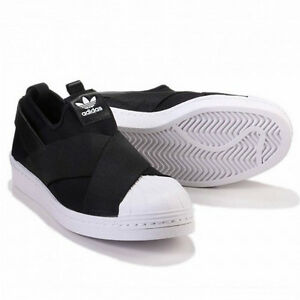 sneakers for cheap 46683 e2a11 Details about Women originals Adidas S81337 Superstar Slip on casual shoes  black white