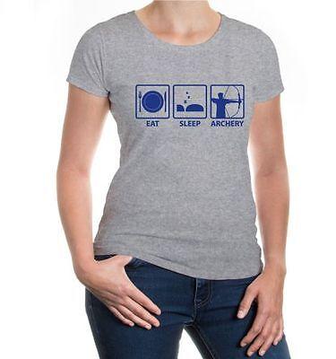 Da Donna A Maniche Corte Malvagia Shirt Eat Sleep Archery Arco Sparare Fun Proverbi Regalo-mostra Il Titolo Originale Costo Moderato