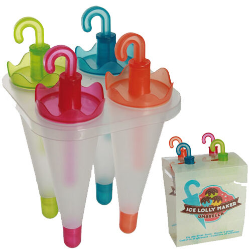 4 ICE LOLLY MAKER FROZEN POPSICLE MOULD HOLDER TRAY POP NEW LOLLIES CREAM MOULDS
