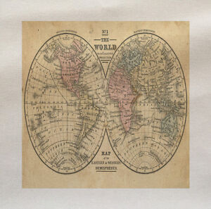 Vintage The World Map Fabric Cotton Panel Make Cushion Upholstery ...