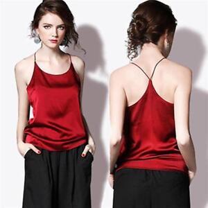 d6854cbc74f6c Women Summer Spaghetti Strap Silk Vest Tank Crop Top Cami Shirt Tops ...