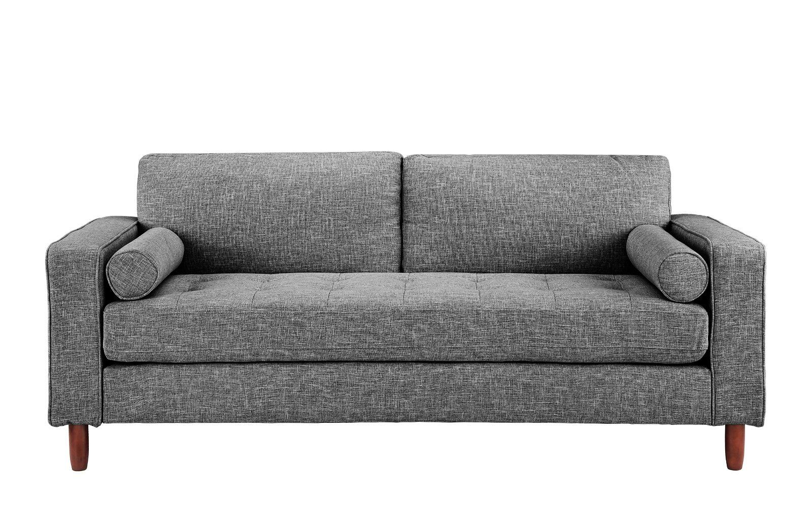 Modern Fabric Sofa With Tufted Linen Fabric Living Room Couch Light Grey