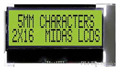 COG 2X16 Y//GRN B//L I2C MIDAS   MCCOG21605D6W-SPTLYI   LCD STN