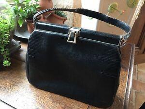 Bolso Negro 50s Vintage Lizard Leather rwBqrA1