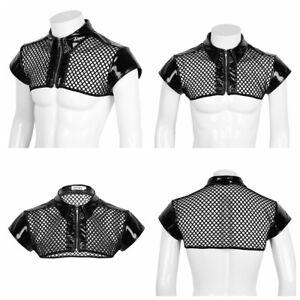 b96dd9b99068 Mens Mesh Fishnet Half Tank Vest Harness Muscle Crop Top Harness Tee ...