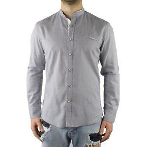 Camicia-Uomo-Collo-Coreana-Cotone-Grigio-Casual-Slim-FIt-Manica-Lunga-Effetto-Li