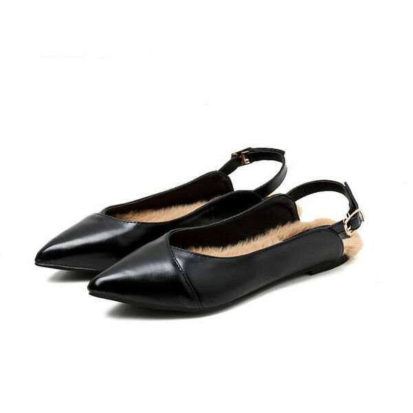 Ballerines mocassins élégant noir brillant fourrure comme cuir confortable 1702
