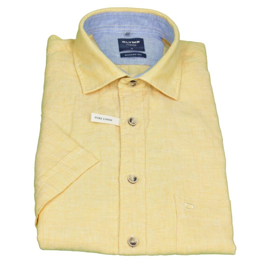 Olymp Men's Casual Casual Shirt half Arm Canvas Yellow Plain 4052 32 51