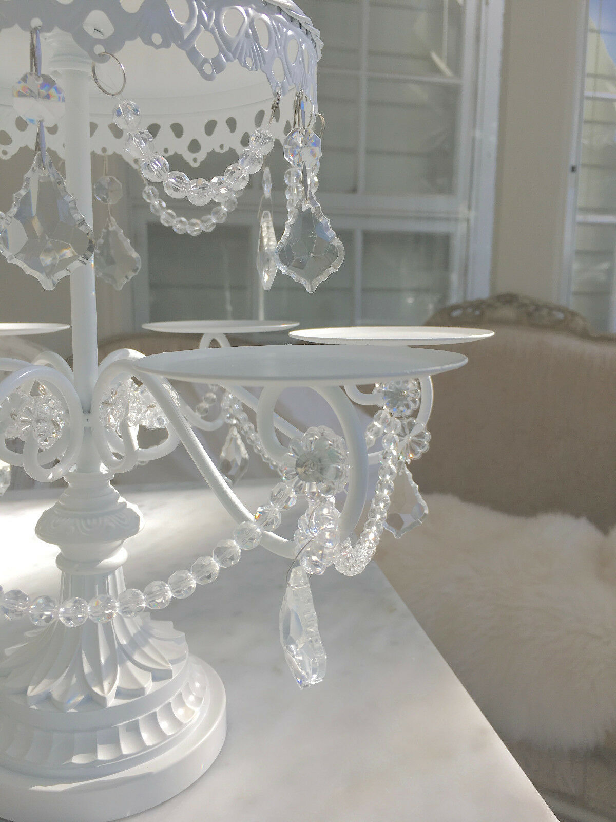 wedding cake stand with crystals shabby prism white chic cupcake wedding birthday 25682