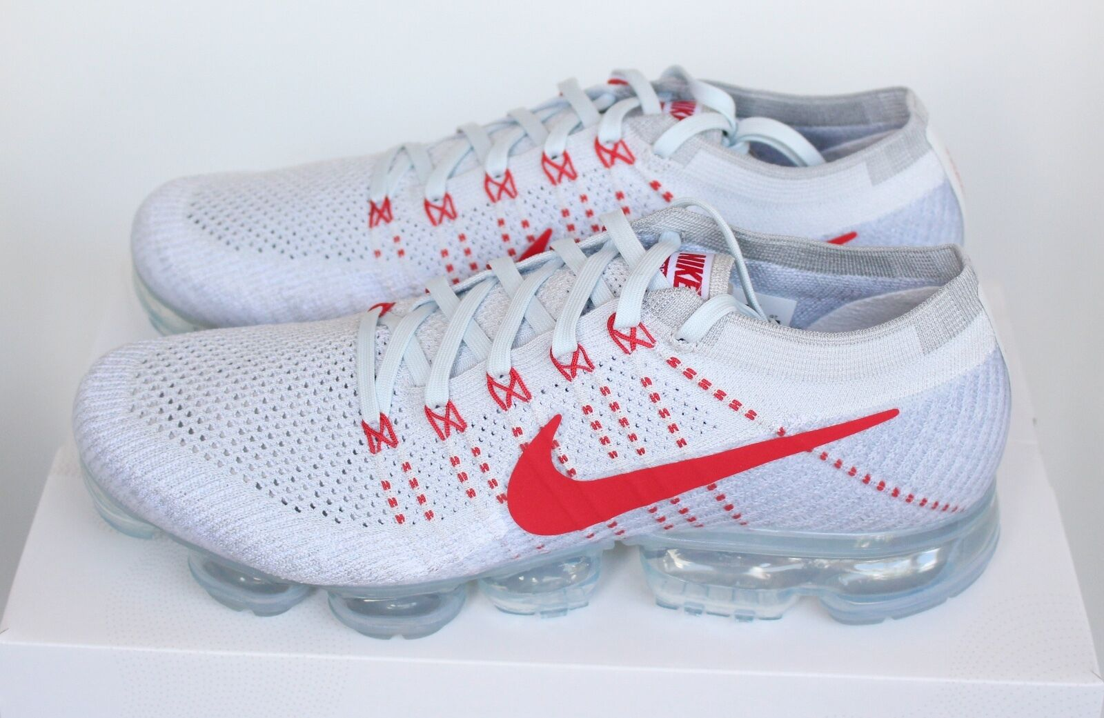 Nike Air Vapormax Flyknit OG Pure Platinum White Red 849558-006 5 10 11 New