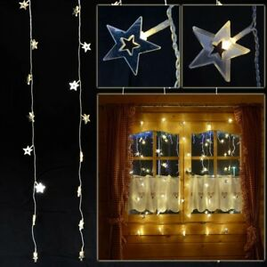 Lichtervorhang 40 Sterne Beleuchtet Led Warmweiß Fenster Deko