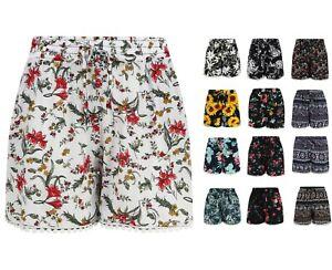 Ladies-Shorts-Lace-Hem-Cotton-Elasticated-Waist-Size-8-18-New-Soft-Summer-Beach