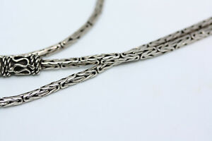 Sterling-Silver-Real-925-Byzantine-Long-Women-039-s-Ladies-Necklace-24-034-2-5-MM-Width