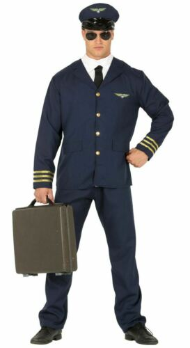 Mens Pilot Uniform Aviator Cabin Crew Flight Fancy Dress Costume Outfit
