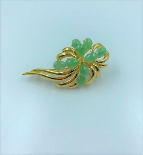 Gump's 18K Yellow Gold & Green Jadeite Floral Broo