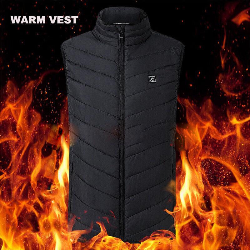 USB Electric Vest Heated Jacket Warm Up Heating Pad Body Women Men