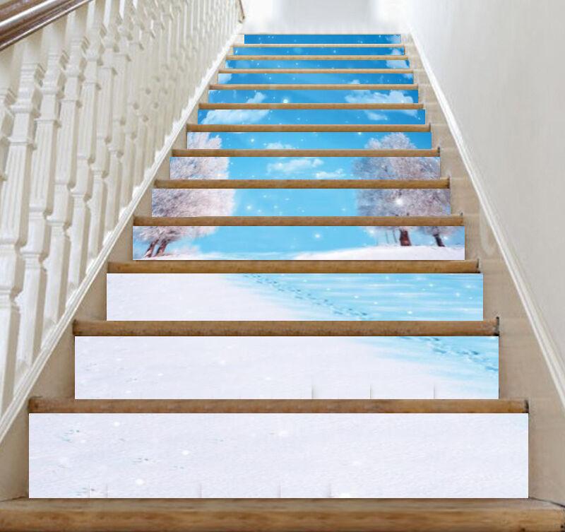 3D Snow Scenery 416 Stair Risers Decoration Photo Mural Vinyl Decal Wallpaper UK
