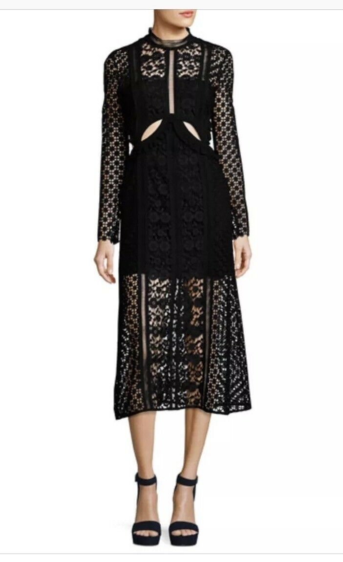 645 Authentique Self Portrait Payne robe noir guipere dentelle Shopbop Barneys