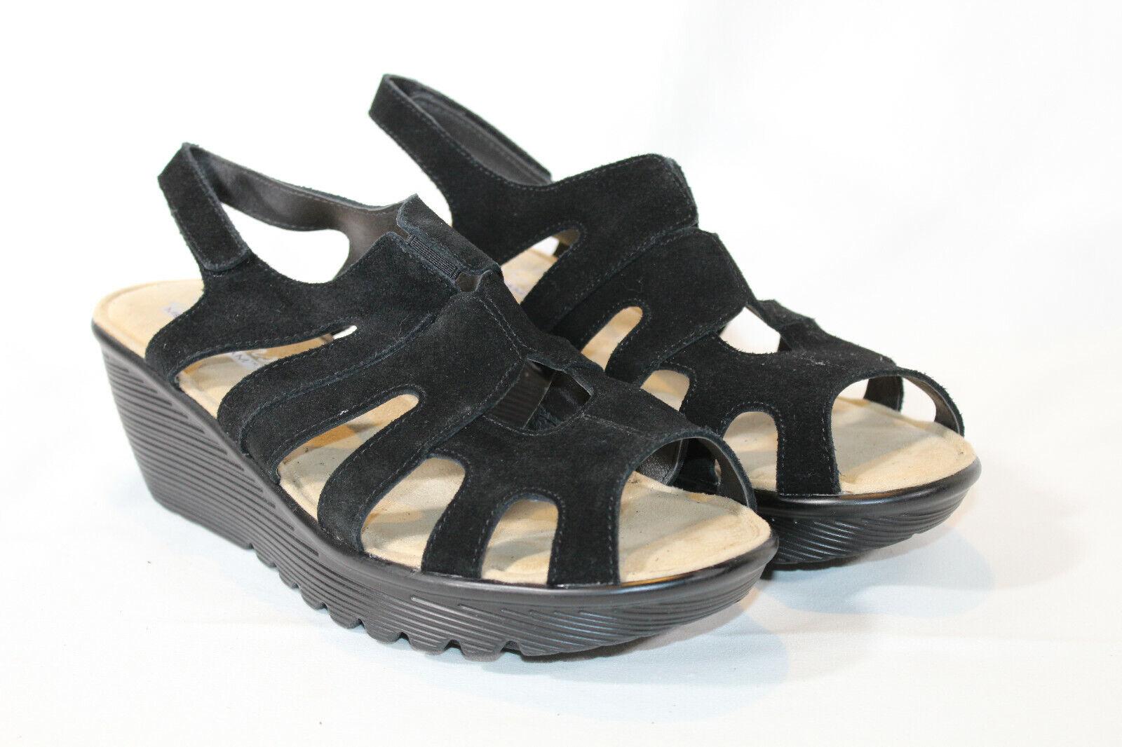 Skechers 10 wide black suede Peep toe slingback Wedges stylin