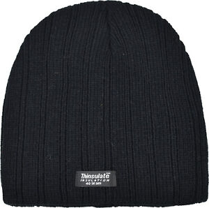 4bc5adacd33a4 Image is loading Unisex-Thinsulate-Beanie-Hat-Plain-Black-With-Fleecy-