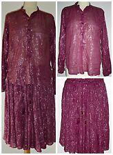 VINTAGE 70S INDIAN GAUZE COTTON  SHIRT BLOUSE SKIRT SUIT DRESS UK 10 12