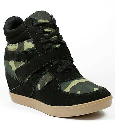 BLACK GREEN CAMOUFLAGE HIGH TOP FASHION WEDGE SNEAKERS SODA BRIGHT-S