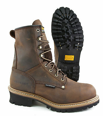CAROLINA BOOTS WATERPROOF STEEL TOE LEATHER WORK LOGGER BOOT CA9821 BROWN WIDE