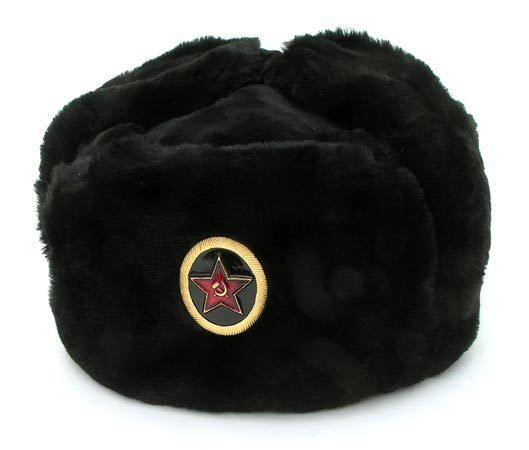 d8bc8ec22bc Authentic Russian Black Military Ushanka With Naval Infantry Marine Badge  for sale online