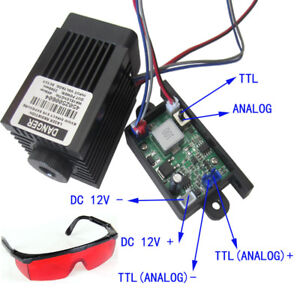 Focusable-2-5W-2500mW-450nm-Blue-Laser-Module-TTL-AnAlog-signal-Engraving-Goggle
