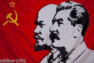 "Flag ""Lenin Stalin"" with faces of soviet leaders, looking in the same direction"