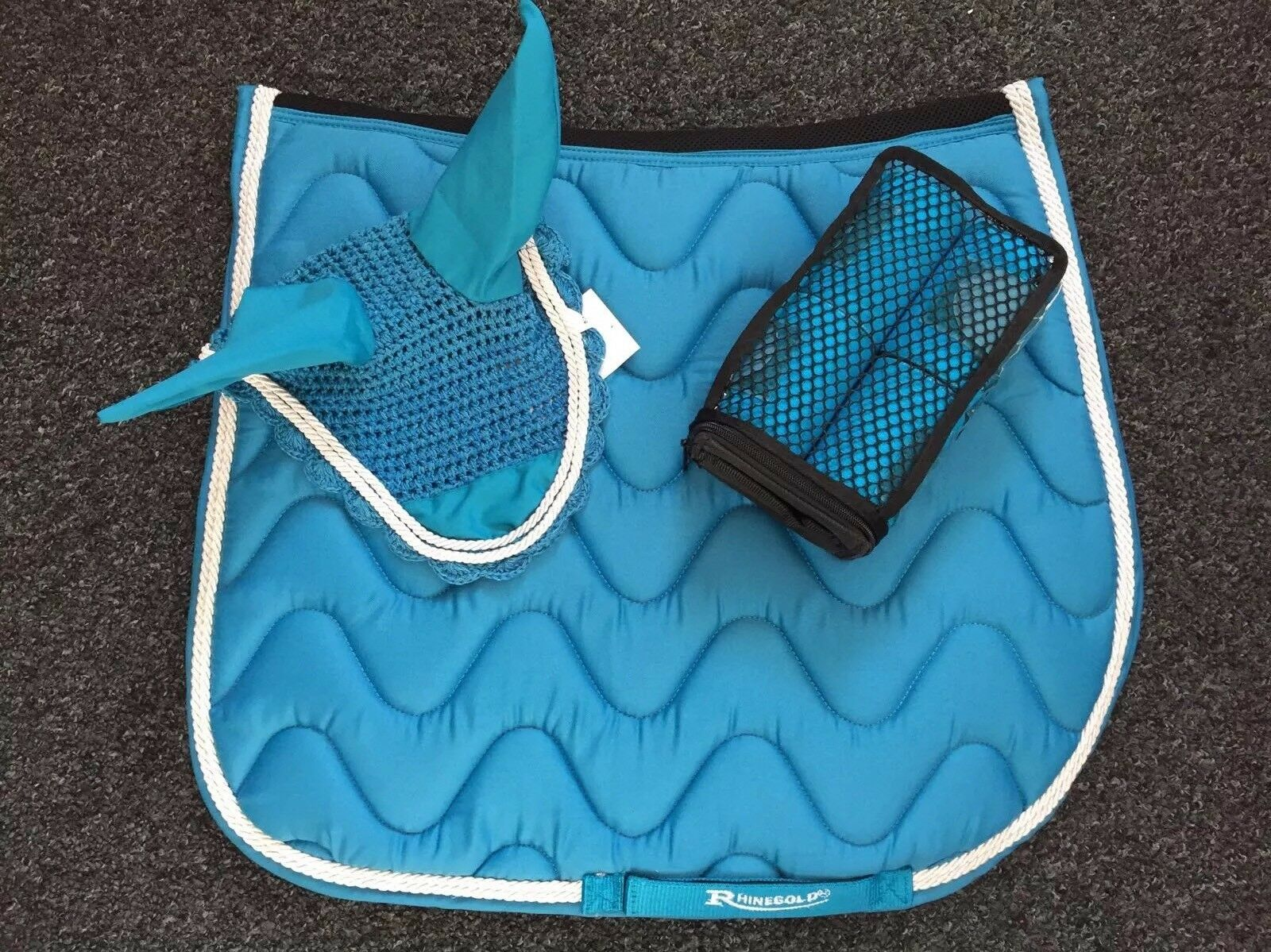 Matchy Set, Saddle Pad, Fly Veil and Bandages, FULL, Turquoise, FREE UK Postage