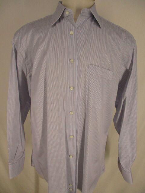 Ermenegildo Zegna Mens Blue Tan Stripe Long Sleeve Cotton Dress Shirt 43L 17-35
