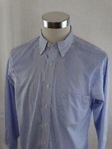CHAPS-Blue-amp-White-Striped-Long-Sleeve-Button-Down-Mens-Dress-Shirt-Size-Medium
