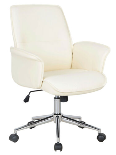 SixBros Office Chair Faux Leather Ivory White 0704M//2491