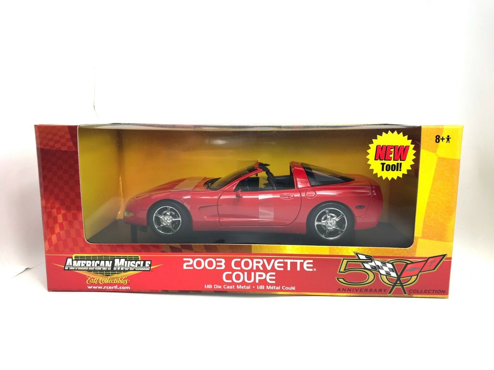 1 18 American Muscle ERTL 2003 Chevy Corvette rot 50th Anniversary diecast NEW