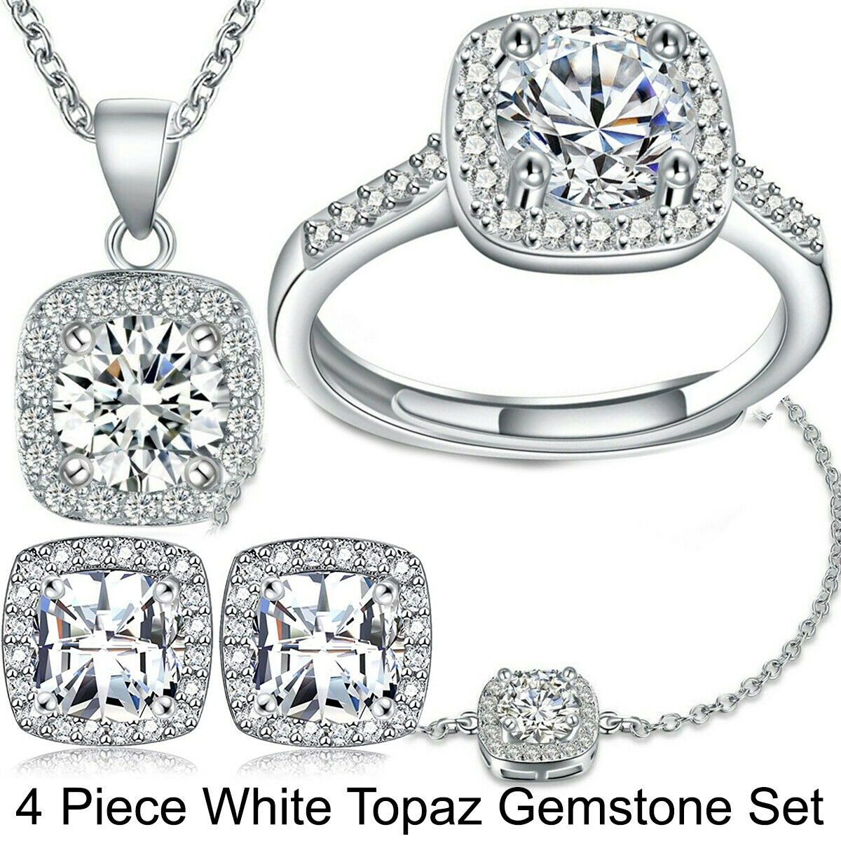 Luxury All CZ Cubic Zirconia Necklace Earrings Set Wedding Party Pageant ITALY