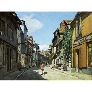 Monet-Rue-De-La-Bavole-Honfleur-Painting-Canvas-Art-Print-Poster